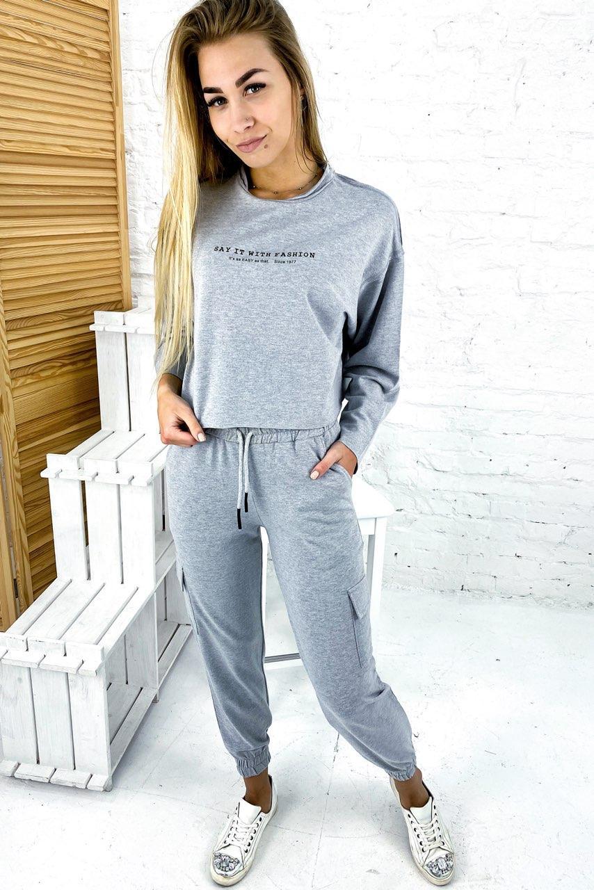 Ультрамодный спортивный костюм over size PERRY - серый цвет, L (есть размеры)