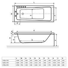 Ванна Excellent AVA 1600x705 мм + ніжки (WAEX.AVA16WH), фото 3