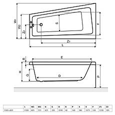 Ванна Excellent AVA Comfort 1500x805 мм, права + ніжки (WAEX.AVP15WH), фото 2