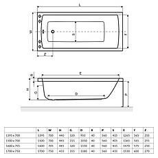 Ванна Excellent Aquaria 1395x700 мм + ніжки (WAEX.AQU14WH), фото 3