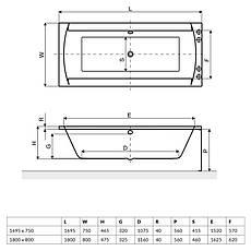 Ванна Excellent Crown ІІ 1695x750 мм + ніжки (WAEX.CRO17WH), фото 3