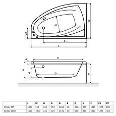 Ванна Excellent Aquaria Comfort 1500x950 мм, ліва + ніжки (WAEX.AQL15WH), фото 3