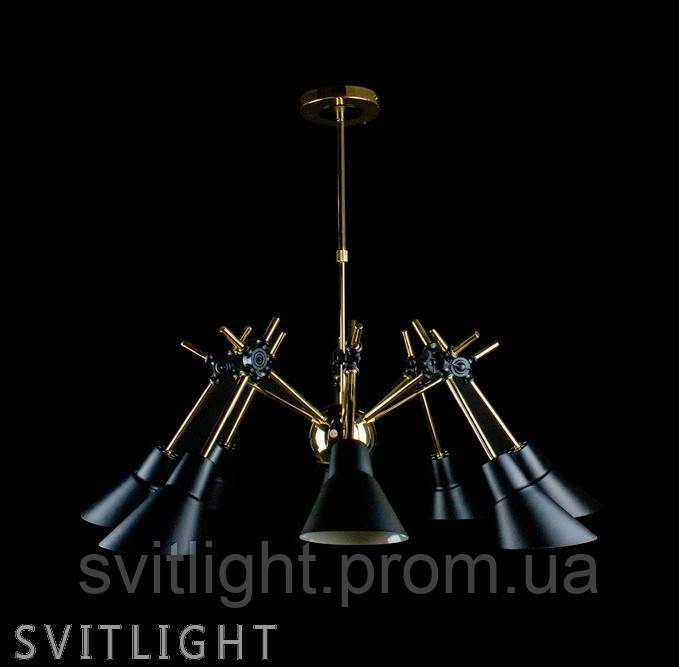 Люстра чёрно-золотая на 8 ламп GY005-8B ВК Au Svitlight
