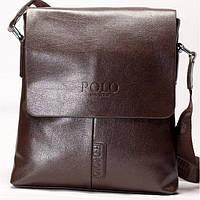Мужская сумка на плече POLO коричневого цвета