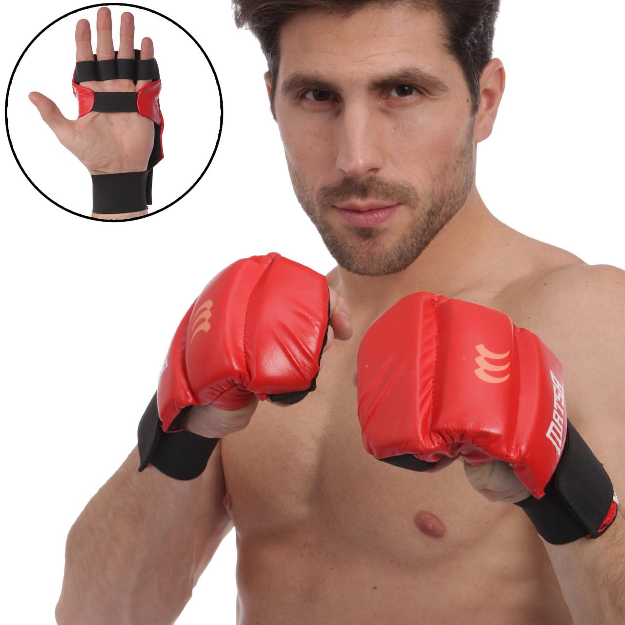 Перчатки для Джиу Джитсу кожаные Matsa (S-XL, манжет на резинке) Красный L PZ-MA-1804_1