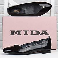Туфли лодочки женские кожаные Mida Мида черные лакированные 21983 (134), Черный, 41
