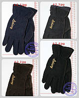 Оптом мужские флисовые перчатки двойные - Черные, серые, коричневые, синие - 4-2, фото 1
