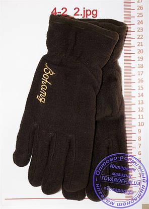 Оптом мужские флисовые перчатки двойные - Черные, серые, коричневые, синие - 4-2, фото 2