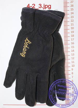 Оптом мужские флисовые перчатки двойные - Черные, серые, коричневые, синие - 4-2, фото 3