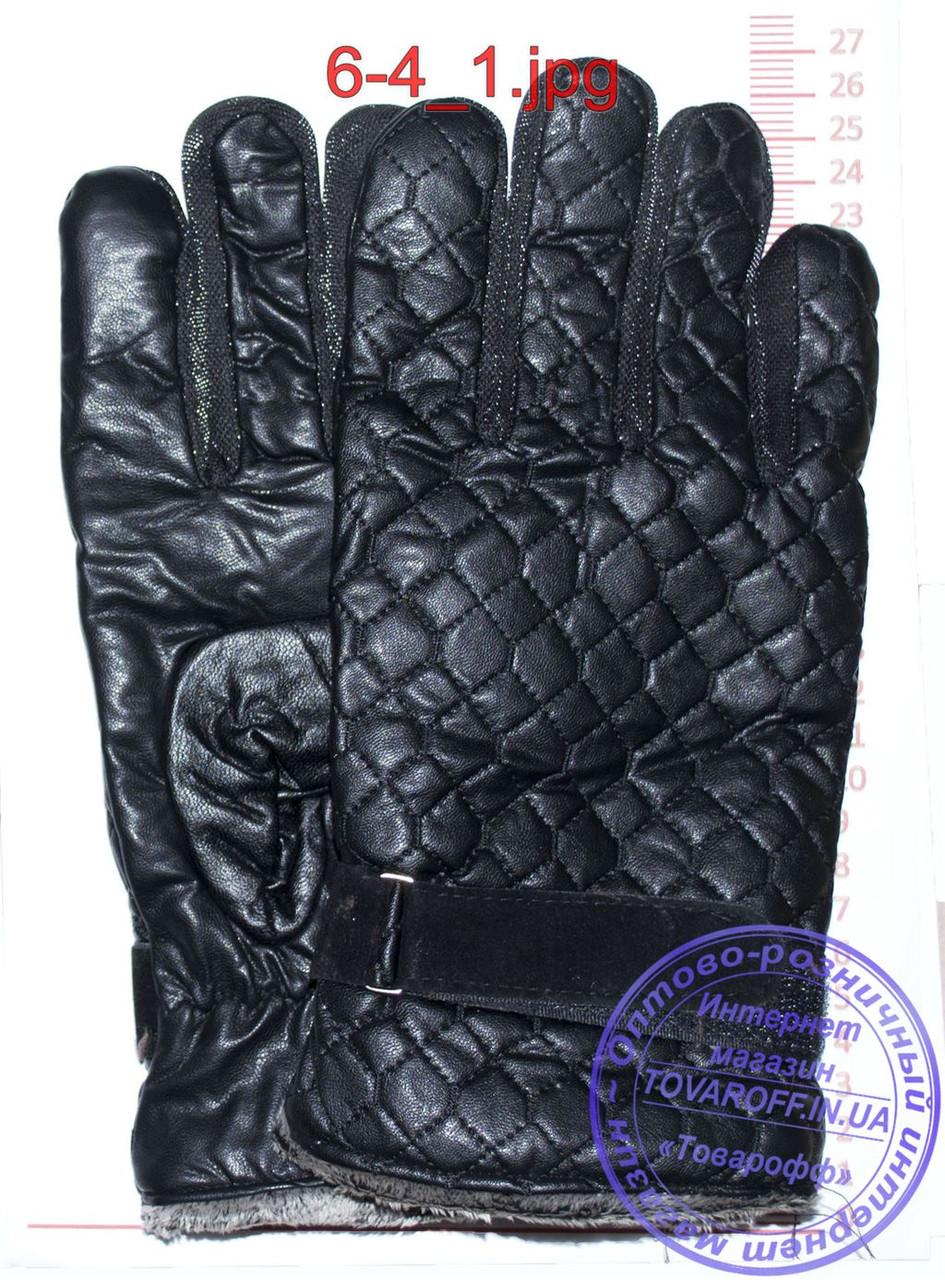 Оптом мужские кожаные перчатки (эко кожа) - Черные - №6-4