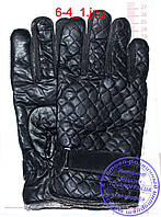 Мужские кожаные перчатки (эко кожа) - Черные - №6-5
