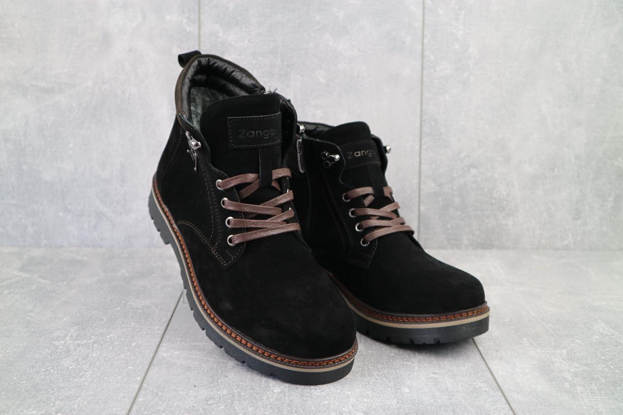 Мужские ботинки кожаные зимние черные Zangak 940 ч-з