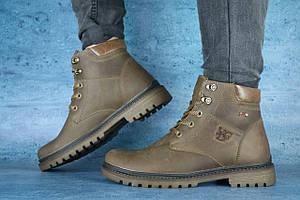 Мужские ботинки кожаные зимние оливковые Udg 741