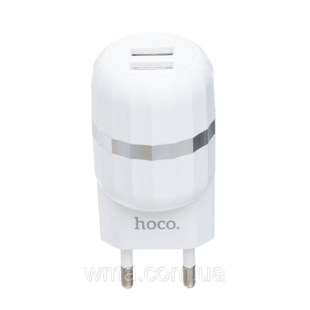 Сетевое зарядное устройство usb (Для телефонов и планшетов) Hoco C41A Lightning 2USB 12w Цвет Белый