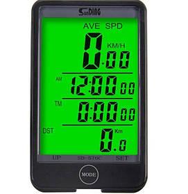 Велокомп'ютер бездротовий SunDing SD-576C з підсвічуванням екрану, 32 функції
