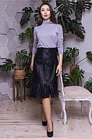 Чёрная юбка из эко-кожи на кнопках Тринити, фото 1