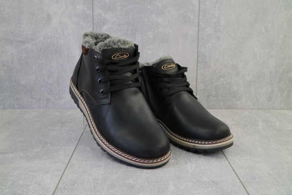 Мужские ботинки кожаные зимние черные-матовые Yuves Clas