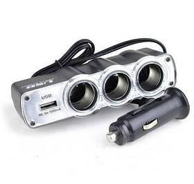 Тройник сплиттер разветвитель прикуривателя USB HLV Triple Socket WF-0120