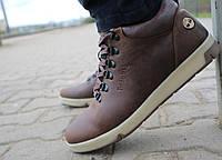 Мужские ботинки кожаные зимние коричневые-матовые Yuves 773, фото 1