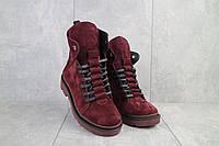 Женские ботинки замшевые зимние красные Vikont 7-10-51, фото 1