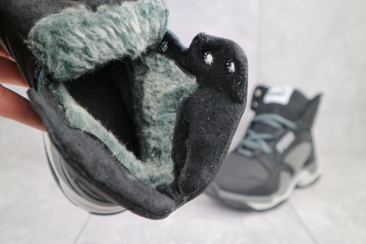Ботинки подростковые CrosSAV 315 черные-серые (натуральная кожа, зима)