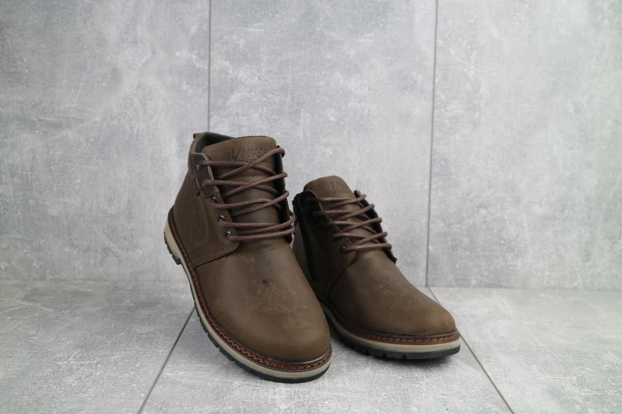 Подростковые ботинки кожаные зимние коричневые-матовые Yuves 782
