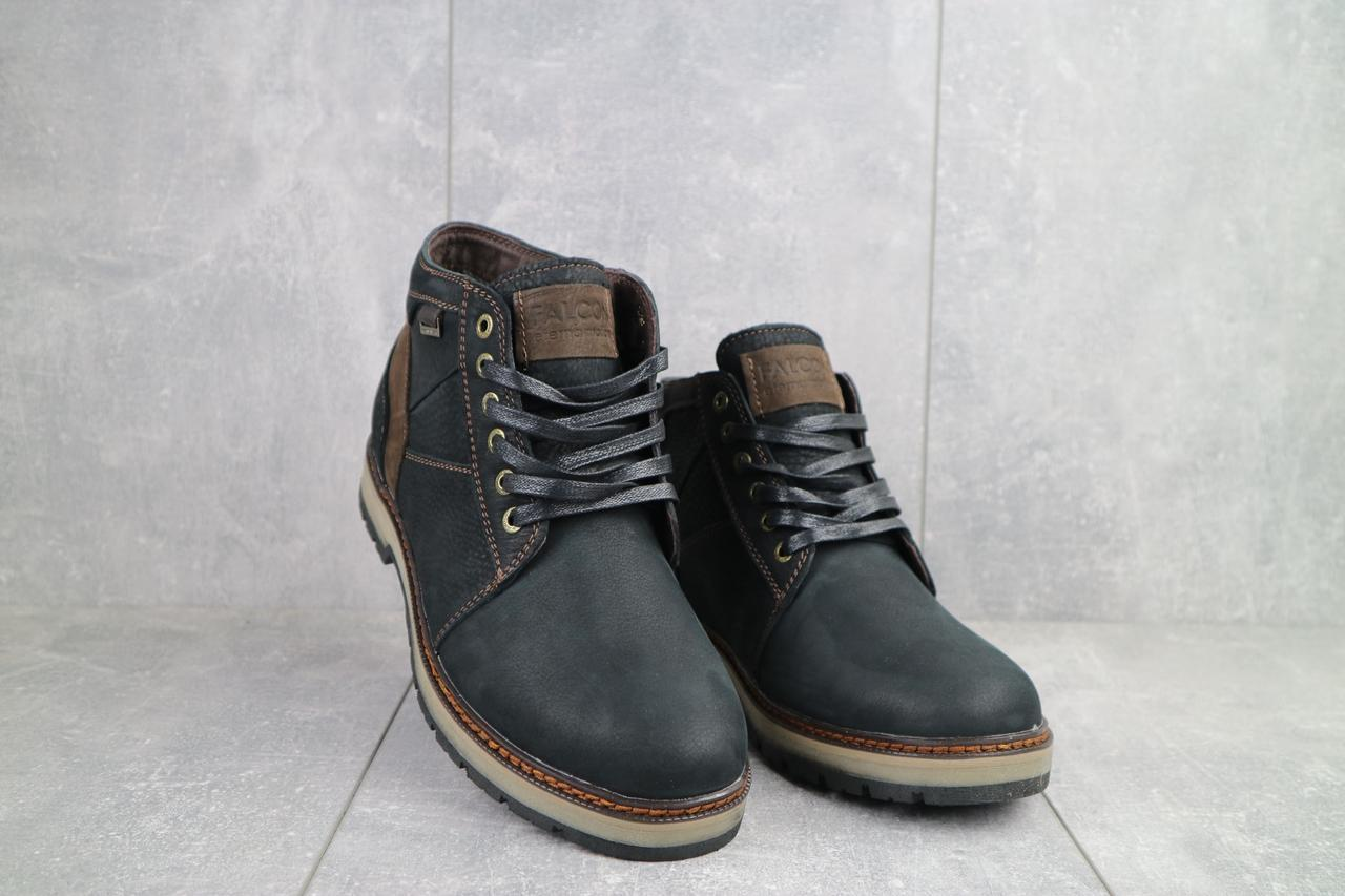 Мужские ботинки кожаные зимние черные Falcon 6220