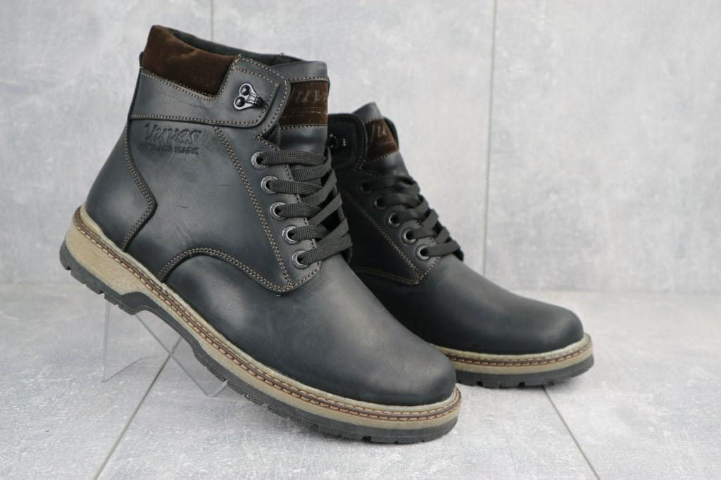Мужские ботинки кожаные зимние черные-матовые Yuves Obr 3
