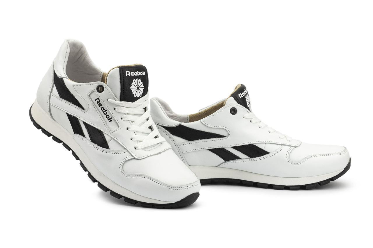 Мужские кроссовки кожаные весна/осень белые-черные Lions R16