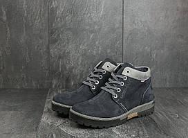 Мужские ботинки нубуковые зимние синие Norman Z158