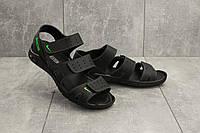 Мужские сандали кожаные летние черные Yuves C21, фото 1