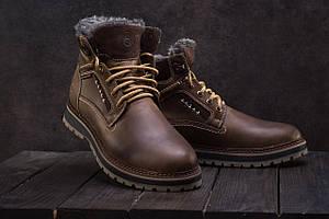 Мужские ботинки кожаные зимние оливковые Riccone 222
