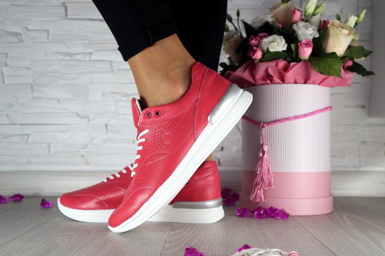 Женские кроссовки кожаные весна/осень красные Onward 212