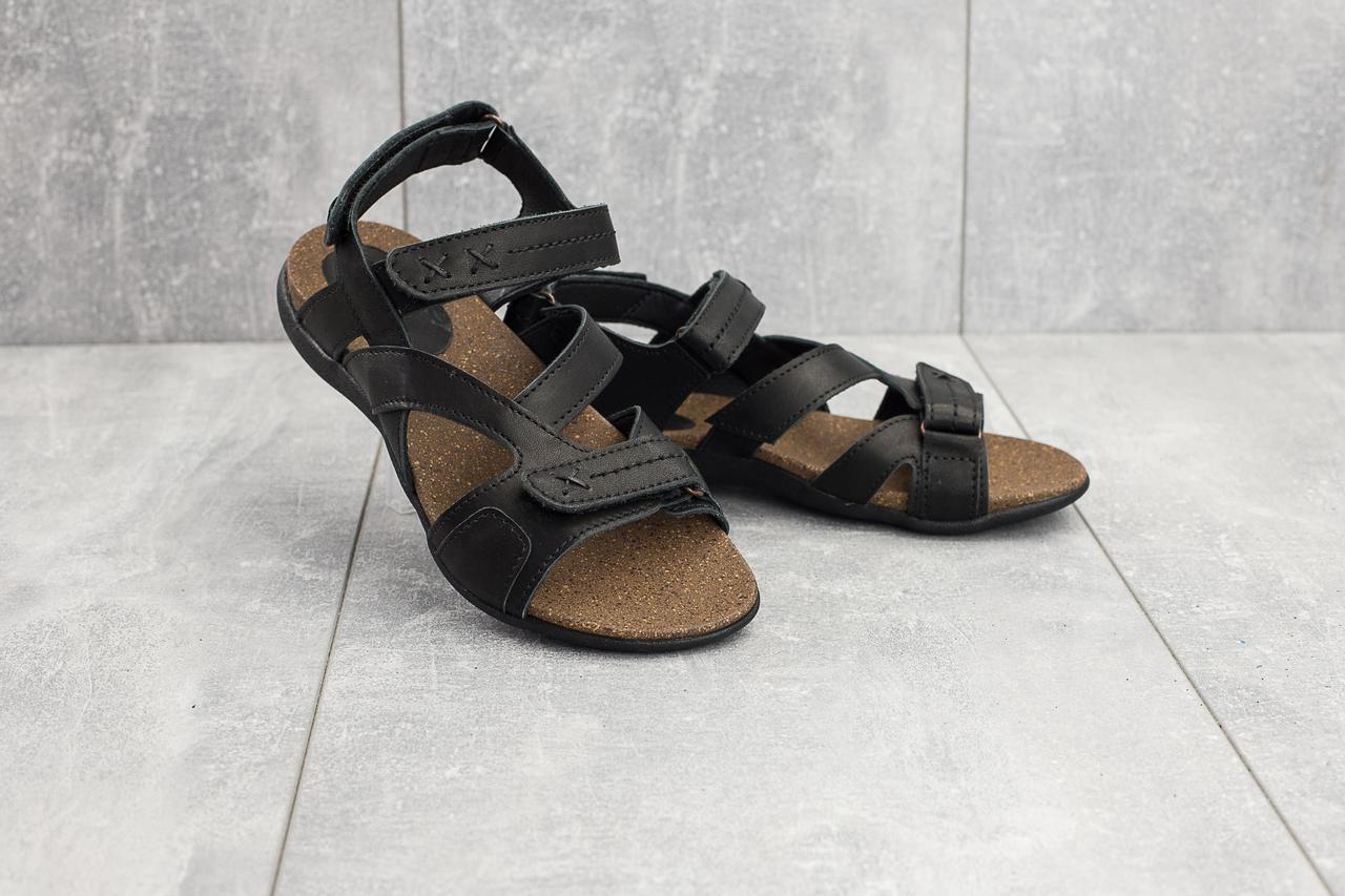 Женские сандали кожаные летние черные-коричневые StepWey 7561