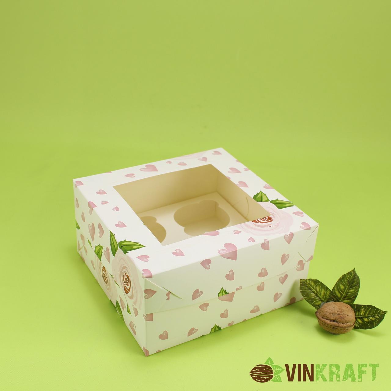 """Коробка 170*170*90 для капкейків (4 шт) з вікном, """"Троянда"""""""