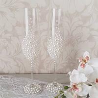 Свадебные бокалы ручной работы с полужемчугом