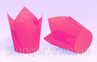 """Форма бумажная для кексов """"Тюльпан"""" розовая, дно 5 см,  (упаковка 3200шт)"""