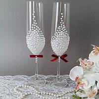 Свадебные  бокалы с полужемчугом белые