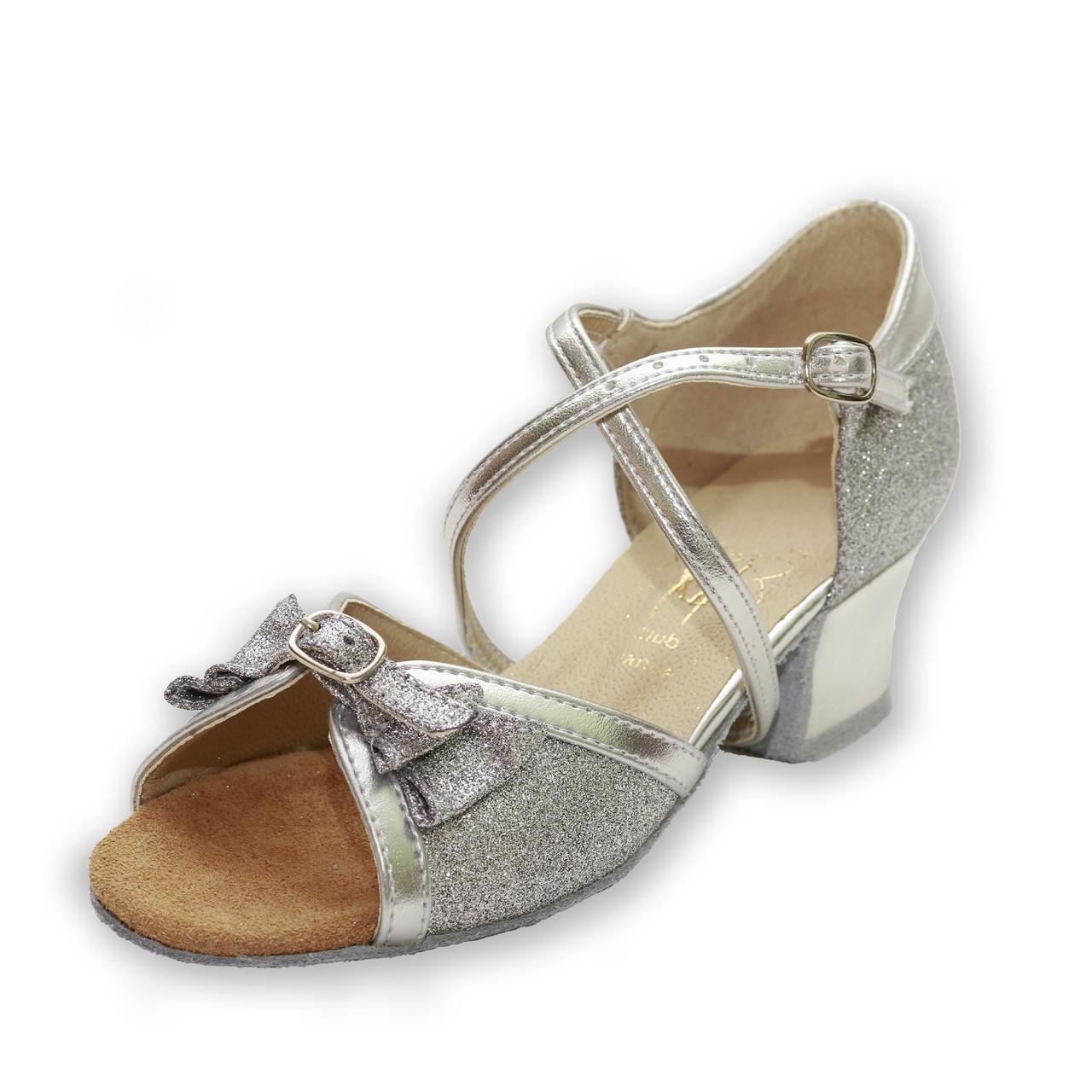 Туфли для бальных танцев ClubDance Б-4 серебро парча