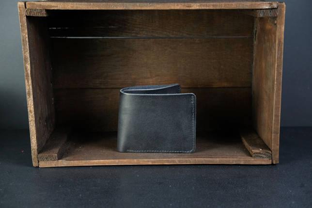 Портмоне класика з монетницею шкіра Італійський Краст колір Чорний, фото 2