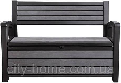 Скамейка-сундук Keter Hudson Bench 227 л антрацит, фото 2