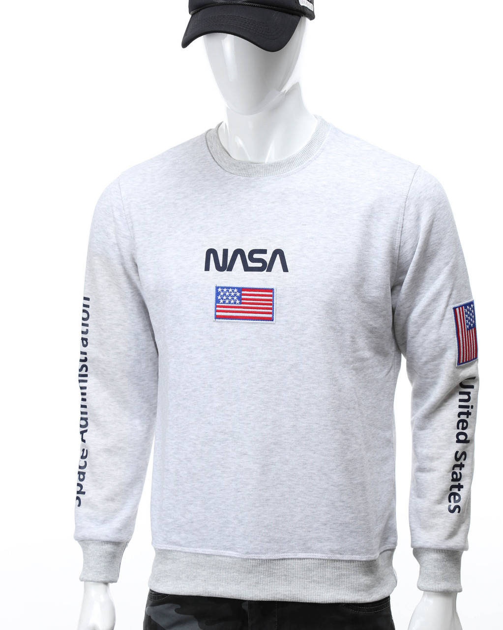Свитшот бел меланж NASA №5 патч, рис на рукавах WTGRI L(Р) 20-522-001-003