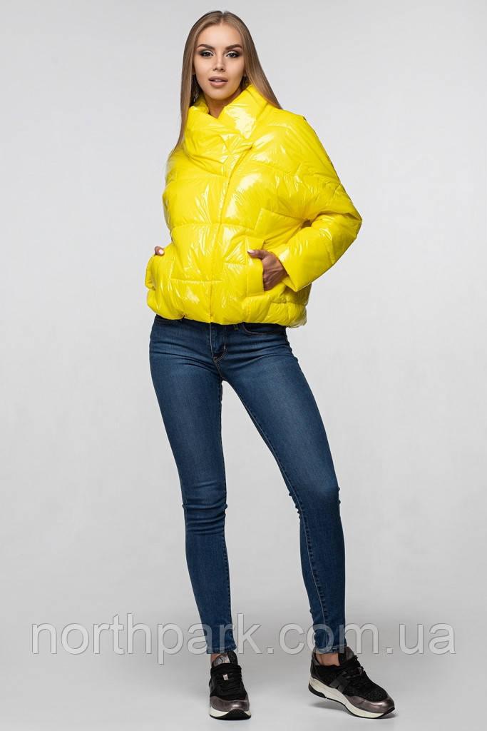 Осіння куртка oversize лакова CANDY жовта
