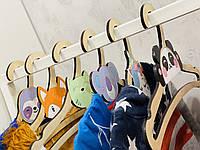 Плечики для детской одежды Intellect Wood 36,5 см*18,5 см деревянные с мордашками зверей (i00002), фото 1