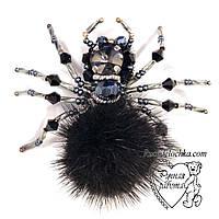 Брошка павук, павучок брошка з каменів, намистин, бісеру, ручної роботи 6*6 см