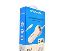 АЗУ Tornado TD-C24 2.4A micro cable white Автомобільна зарядка до телефону.