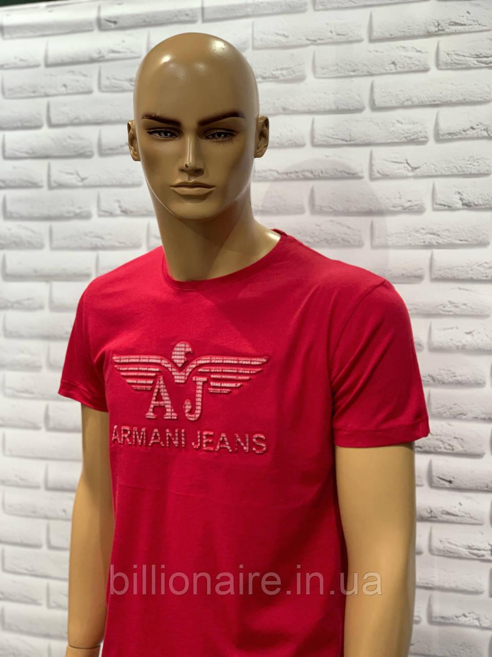 Футболка чоловіча Armani Репліка Jeans 2 Червоний