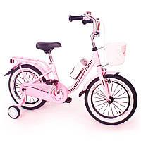Испанский  Детский Розовый Велосипед CASPER-14 дюймов(от 4 лет)  для девочки с корзинкой и багажником