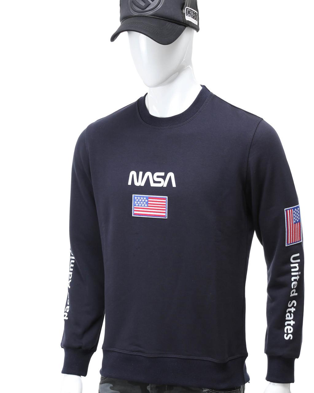 Свитшот т синий NASA №5 патч, рис на рукавах DBLU L(Р) 20-522-001-003