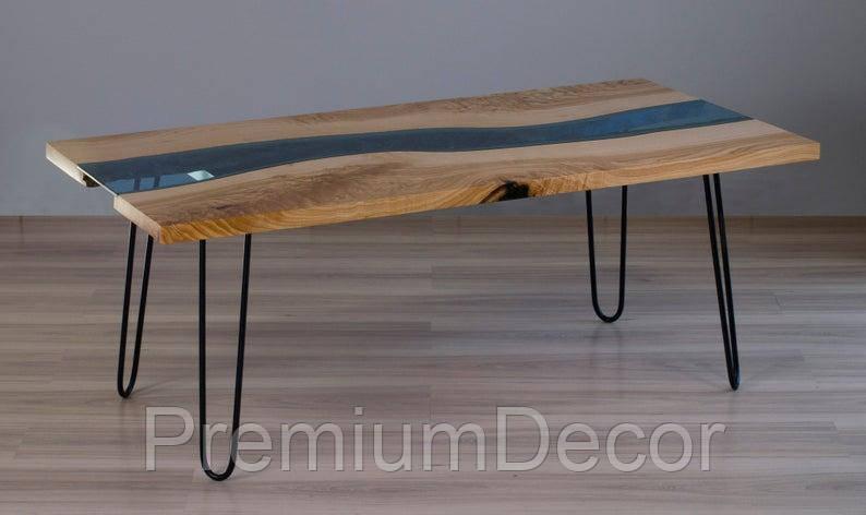 Стол из массива дерева со стеклом эпоксидной смолой река лофт мебель дуб ясень орех тополь